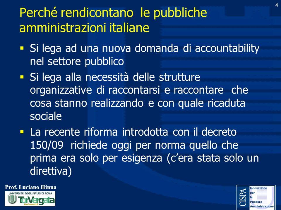 Prof. Luciano Hinna 4 Perché rendicontano le pubbliche amministrazioni italiane Si lega ad una nuova domanda di accountability nel settore pubblico Si