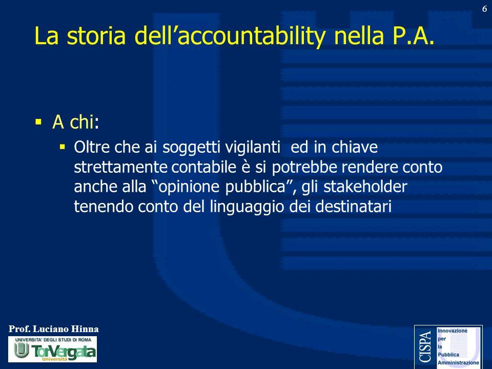 Prof. Luciano Hinna 6 A chi: Oltre che ai soggetti vigilanti ed in chiave strettamente contabile è si potrebbe rendere conto anche alla opinione pubbl