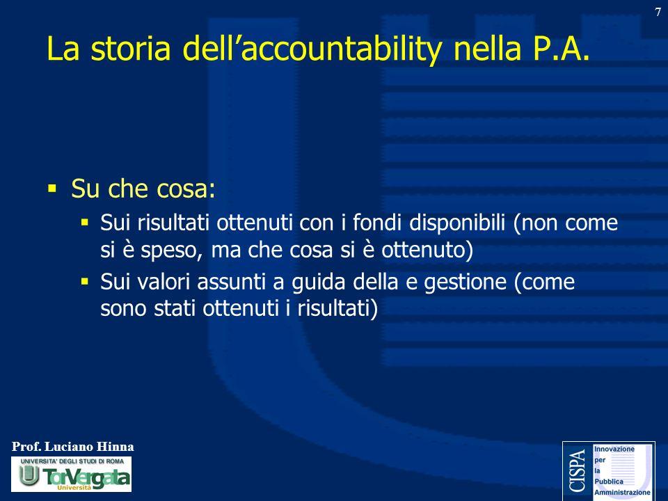 Prof. Luciano Hinna 7 Su che cosa: Sui risultati ottenuti con i fondi disponibili (non come si è speso, ma che cosa si è ottenuto) Sui valori assunti
