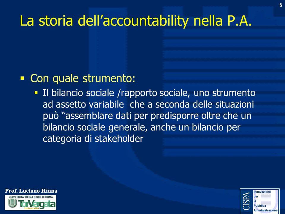 Prof. Luciano Hinna 8 Con quale strumento: Il bilancio sociale /rapporto sociale, uno strumento ad assetto variabile che a seconda delle situazioni pu