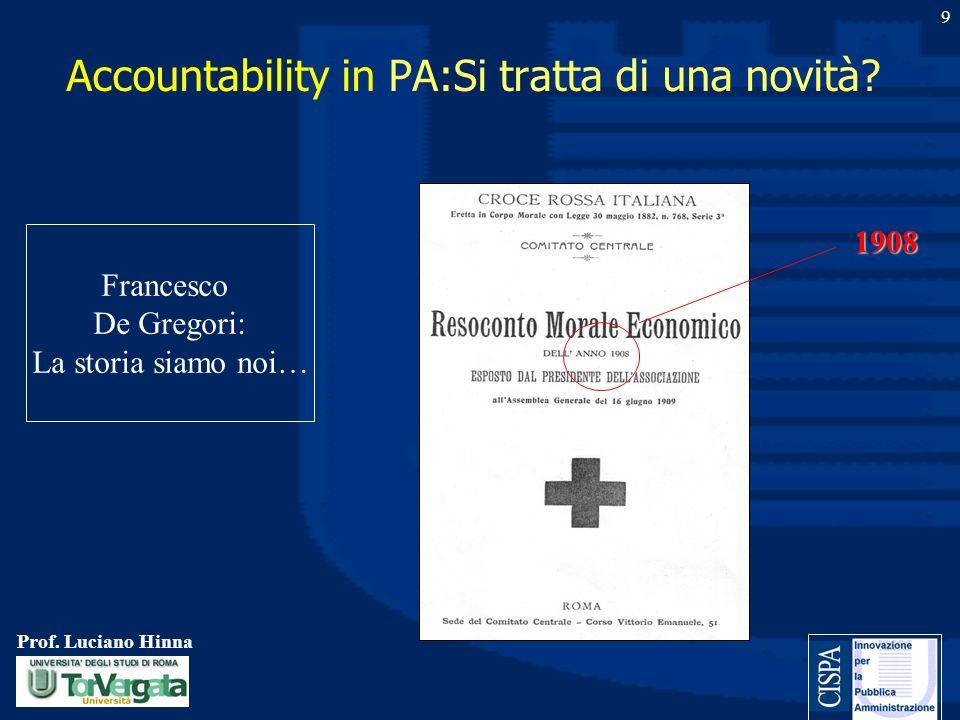 Prof. Luciano Hinna 9 Accountability in PA:Si tratta di una novità? 1908 Francesco De Gregori: La storia siamo noi…