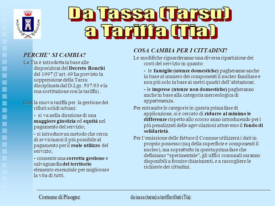 PERCHE SI CAMBIA? La Tia è introdotta in base alle disposizioni del Decreto Ronchi del 1997 (lart. 49 ha previsto la soppressione della Tarsu discipli