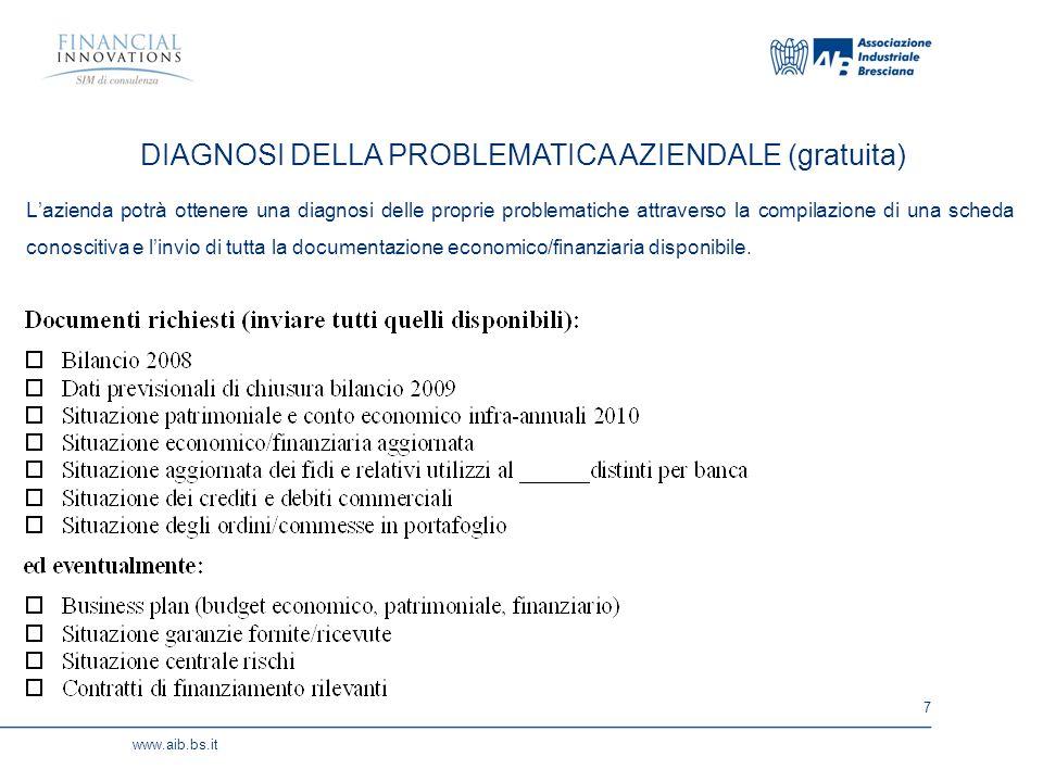 7 www.aib.bs.it Lazienda potrà ottenere una diagnosi delle proprie problematiche attraverso la compilazione di una scheda conoscitiva e linvio di tutta la documentazione economico/finanziaria disponibile.