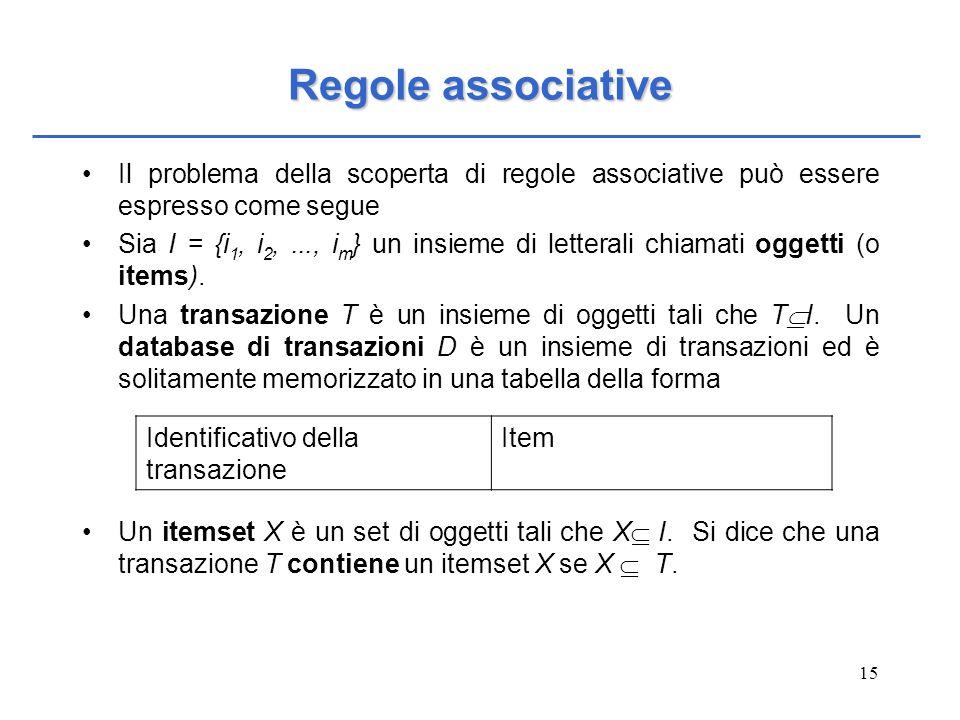 15 Regole associative Il problema della scoperta di regole associative può essere espresso come segue Sia I = {i 1, i 2,..., i m } un insieme di lette