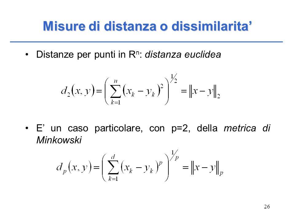 26 Misure di distanza o dissimilarita Distanze per punti in R n : distanza euclidea E un caso particolare, con p=2, della metrica di Minkowski