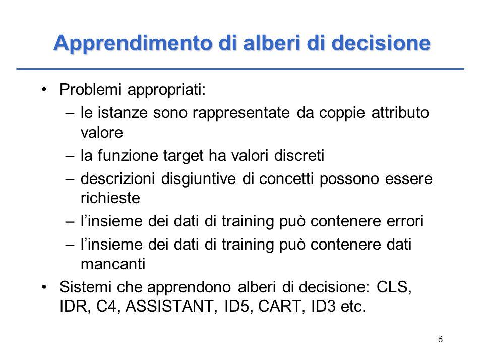6 Apprendimento di alberi di decisione Problemi appropriati: –le istanze sono rappresentate da coppie attributo valore –la funzione target ha valori d