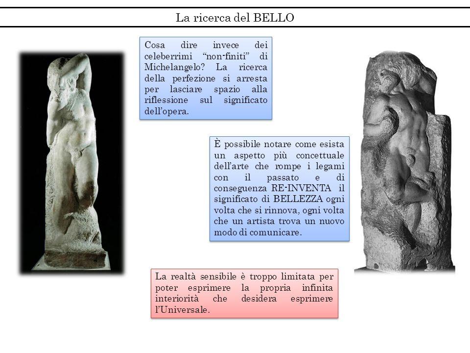 La ricerca del BELLO Cosa dire invece dei celeberrimi non-finiti di Michelangelo? La ricerca della perfezione si arresta per lasciare spazio alla rifl
