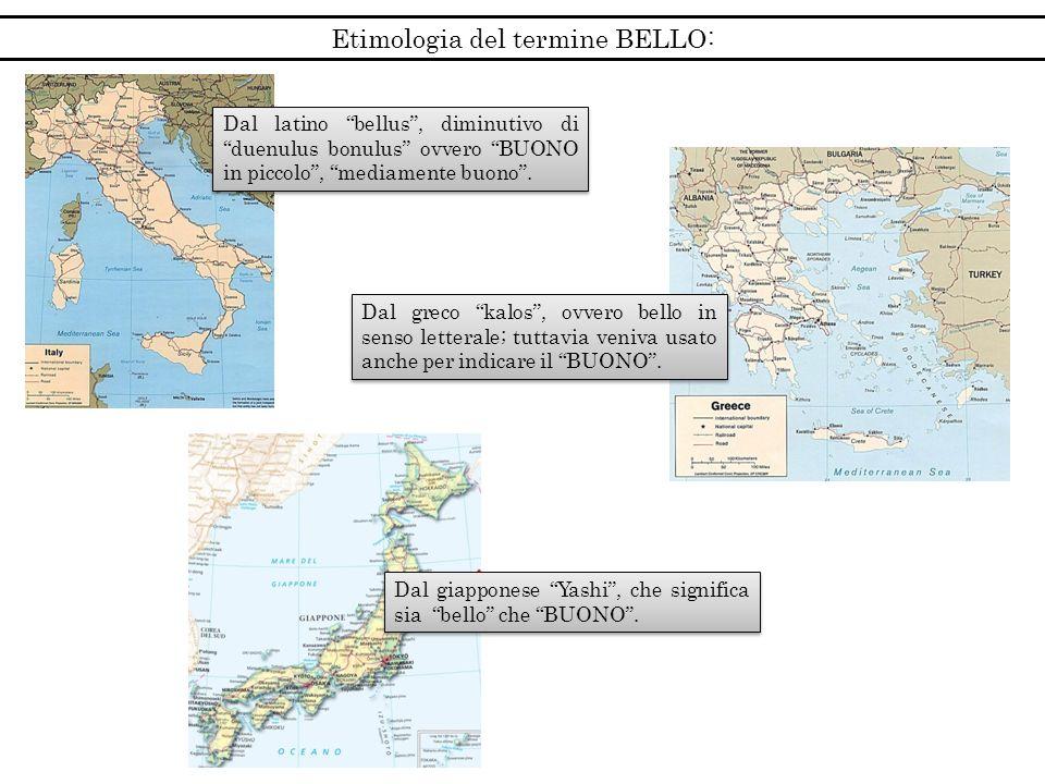 Etimologia del termine BELLO: Dal latino bellus, diminutivo di duenulus bonulus ovvero BUONO in piccolo, mediamente buono. Dal greco kalos, ovvero bel