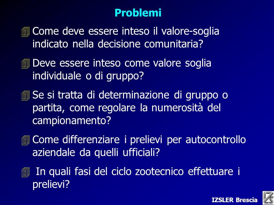 IZSLER Brescia Problemi 4Come deve essere inteso il valore-soglia indicato nella decisione comunitaria.