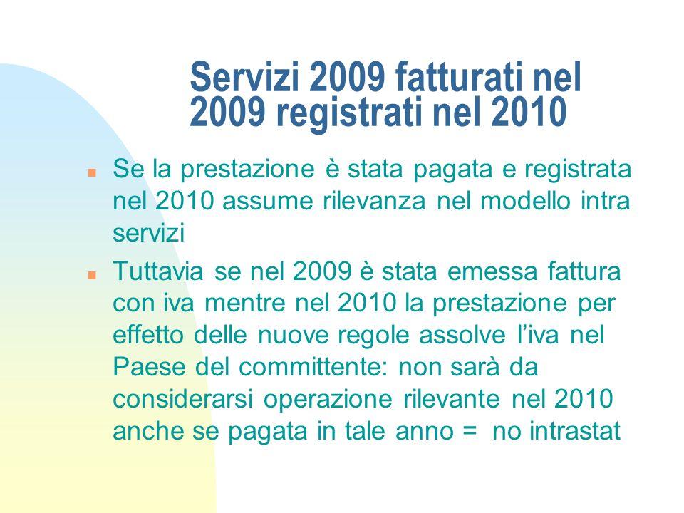 Servizi 2009 fatturati nel 2009 registrati nel 2010 n Se la prestazione è stata pagata e registrata nel 2010 assume rilevanza nel modello intra serviz