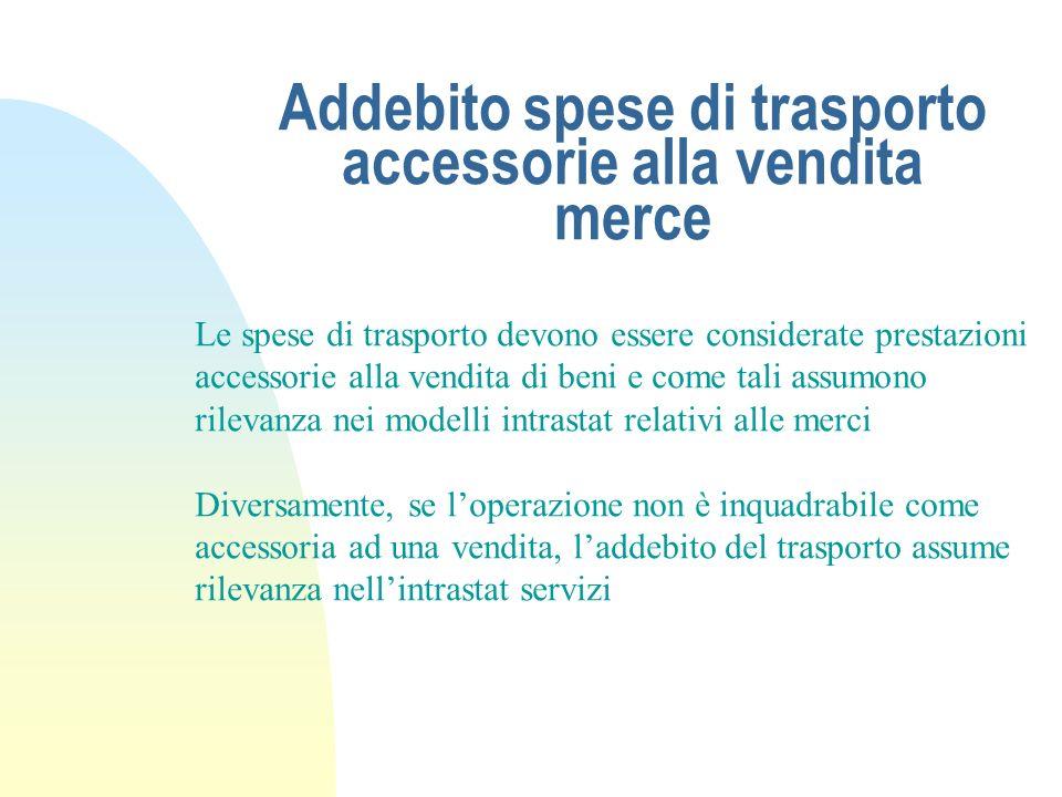Addebito spese di trasporto accessorie alla vendita merce Le spese di trasporto devono essere considerate prestazioni accessorie alla vendita di beni