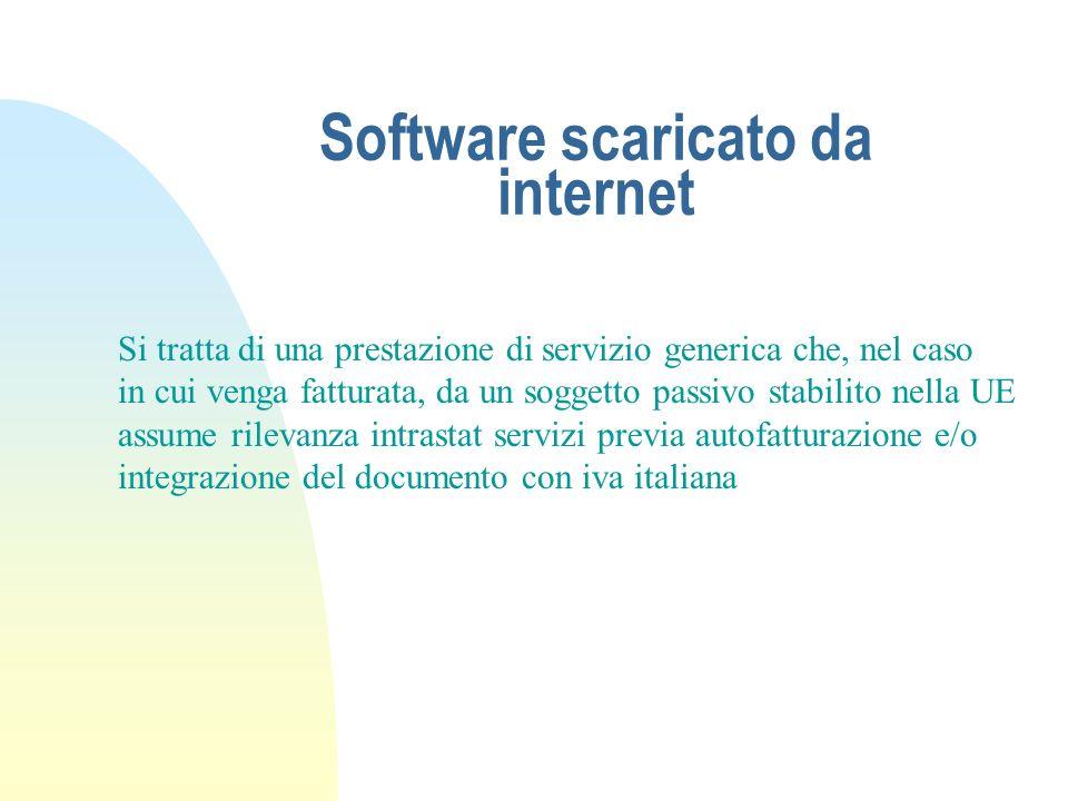 Software scaricato da internet Si tratta di una prestazione di servizio generica che, nel caso in cui venga fatturata, da un soggetto passivo stabilit