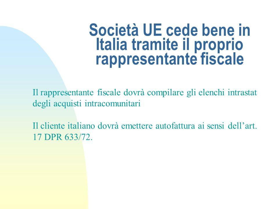 Società UE cede bene in Italia tramite il proprio rappresentante fiscale Il rappresentante fiscale dovrà compilare gli elenchi intrastat degli acquist