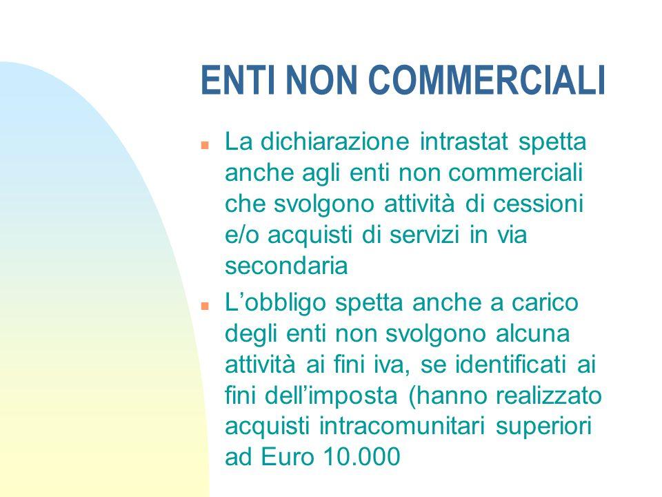 ENTI NON COMMERCIALI n La dichiarazione intrastat spetta anche agli enti non commerciali che svolgono attività di cessioni e/o acquisti di servizi in