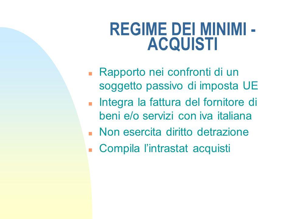 REGIME DEI MINIMI - ACQUISTI n Rapporto nei confronti di un soggetto passivo di imposta UE n Integra la fattura del fornitore di beni e/o servizi con