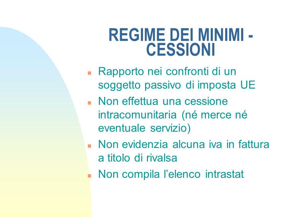 REGIME DEI MINIMI - CESSIONI n Rapporto nei confronti di un soggetto passivo di imposta UE n Non effettua una cessione intracomunitaria (né merce né e