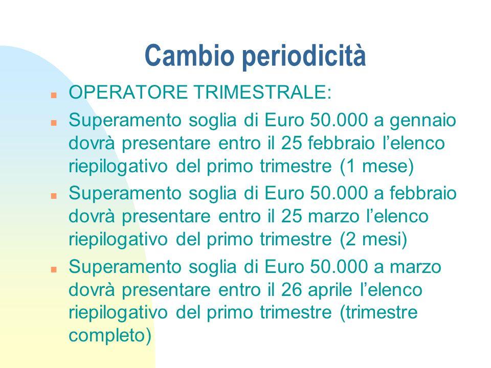 Cambio periodicità n OPERATORE TRIMESTRALE: n Superamento soglia di Euro 50.000 a gennaio dovrà presentare entro il 25 febbraio lelenco riepilogativo