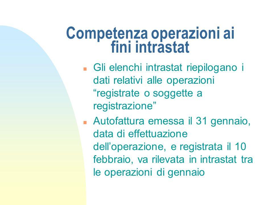 Competenza operazioni ai fini intrastat n Gli elenchi intrastat riepilogano i dati relativi alle operazioni registrate o soggette a registrazione n Au