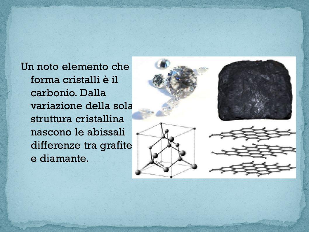 Un noto elemento che forma cristalli è il carbonio. Dalla variazione della sola struttura cristallina nascono le abissali differenze tra grafite e dia