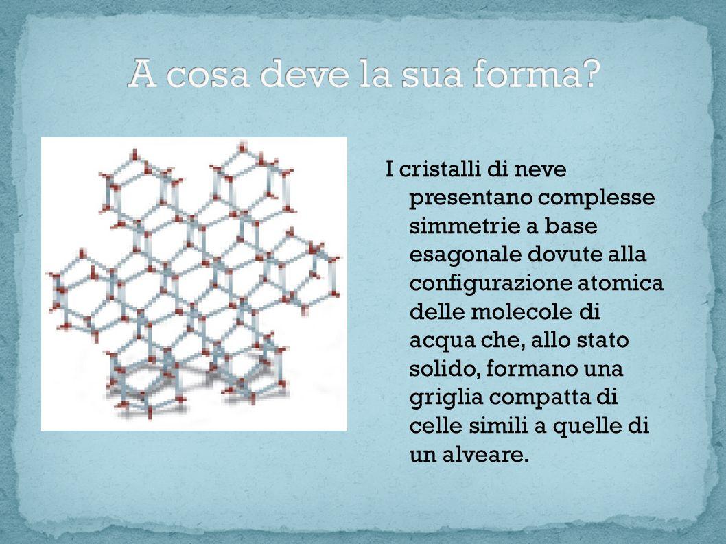 I cristalli di neve presentano complesse simmetrie a base esagonale dovute alla configurazione atomica delle molecole di acqua che, allo stato solido,