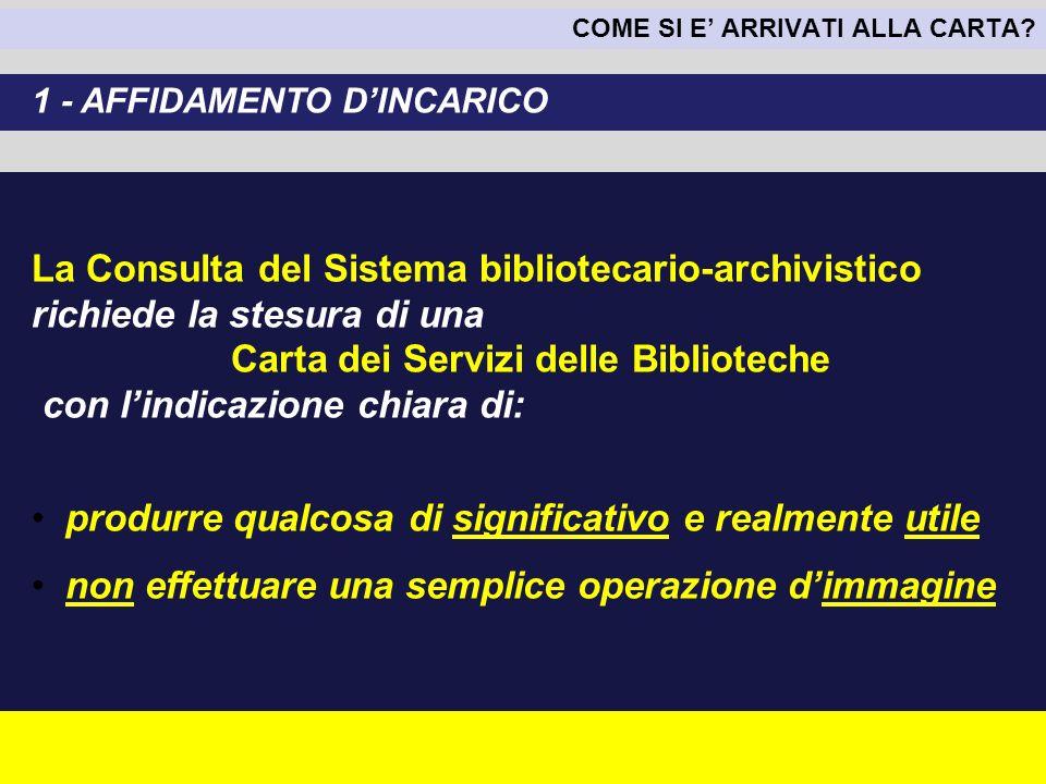 COME SI E ARRIVATI ALLA CARTA? La Consulta del Sistema bibliotecario-archivistico richiede la stesura di una Carta dei Servizi delle Biblioteche con l