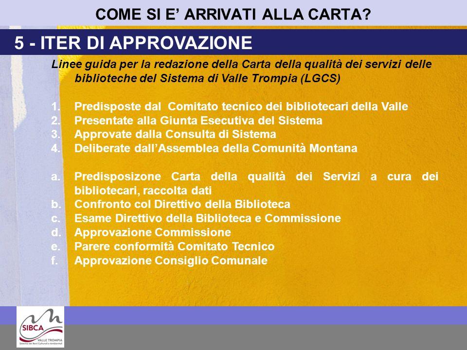 COME SI E ARRIVATI ALLA CARTA? 5 - ITER DI APPROVAZIONE Linee guida per la redazione della Carta della qualità dei servizi delle biblioteche del Siste