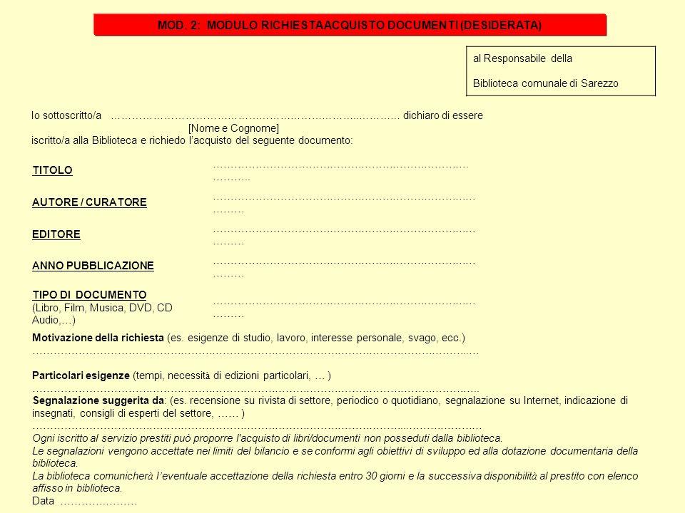 al Responsabile della Biblioteca comunale di Sarezzo Io sottoscritto/a ……………………………………………………………..………… dichiaro di essere [Nome e Cognome] iscritto/a al
