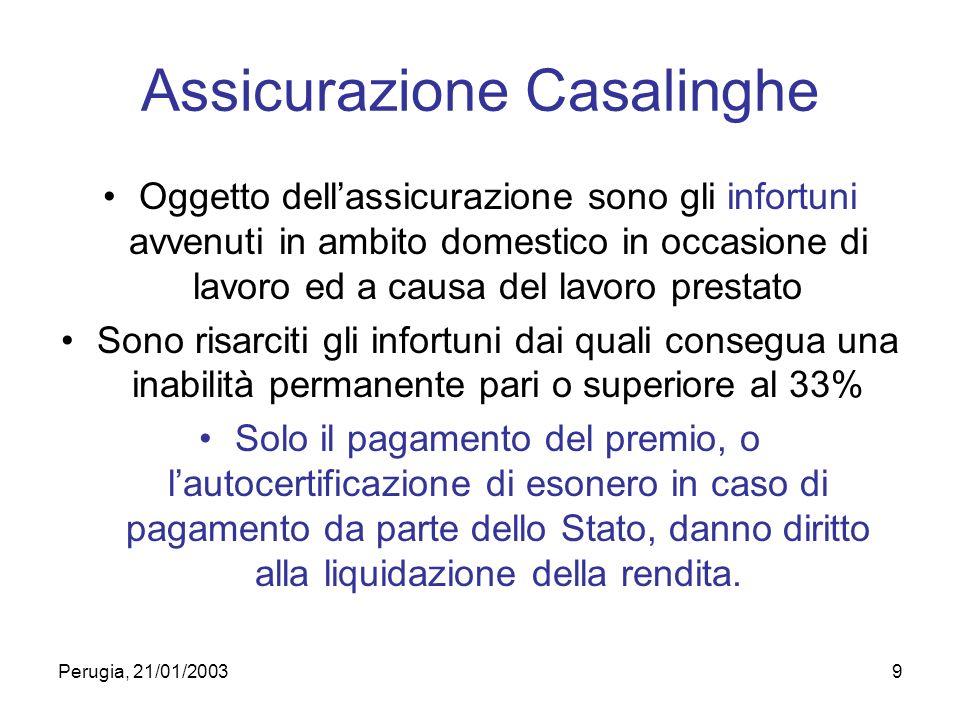 Perugia, 21/01/20039 Assicurazione Casalinghe Oggetto dellassicurazione sono gli infortuni avvenuti in ambito domestico in occasione di lavoro ed a ca