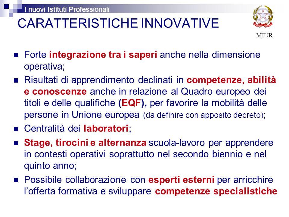 CARATTERISTICHE INNOVATIVE Forte integrazione tra i saperi anche nella dimensione operativa; Risultati di apprendimento declinati in competenze, abili