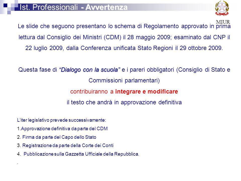 MIUR Le slide che seguono presentano lo schema di Regolamento approvato in prima lettura dal Consiglio dei Ministri (CDM) il 28 maggio 2009; esaminato