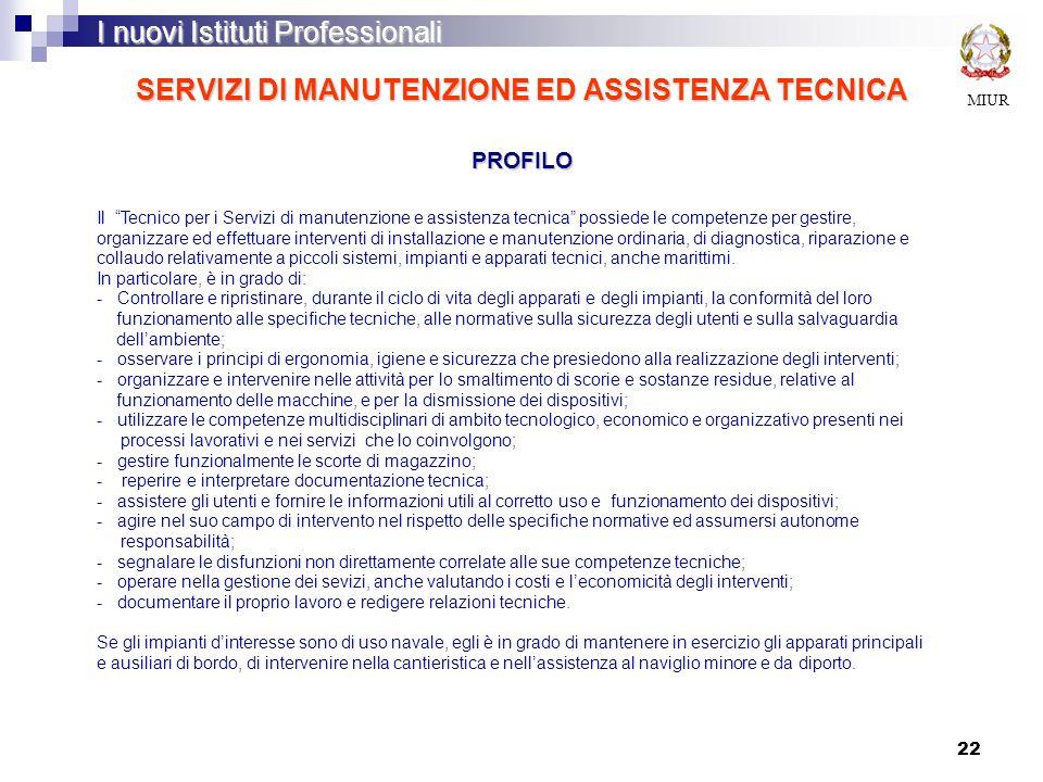 22 SERVIZI DI MANUTENZIONE ED ASSISTENZA TECNICA PROFILO MIUR I nuovi Istituti Professionali Il Tecnico per i Servizi di manutenzione e assistenza tec