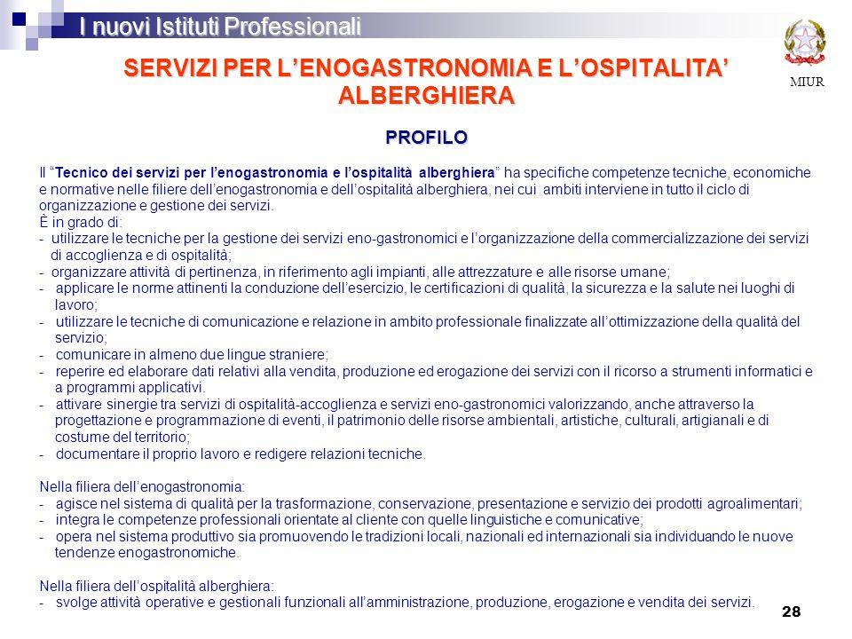 28 SERVIZI PER LENOGASTRONOMIA E LOSPITALITA ALBERGHIERA PROFILO MIUR I nuovi Istituti Professionali Il Tecnico dei servizi per lenogastronomia e losp