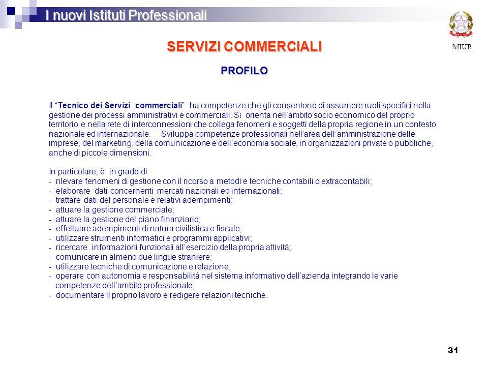 31 SERVIZI COMMERCIALI PROFILO MIUR I nuovi Istituti Professionali Il Tecnico dei Servizi commerciali ha competenze che gli consentono di assumere ruo