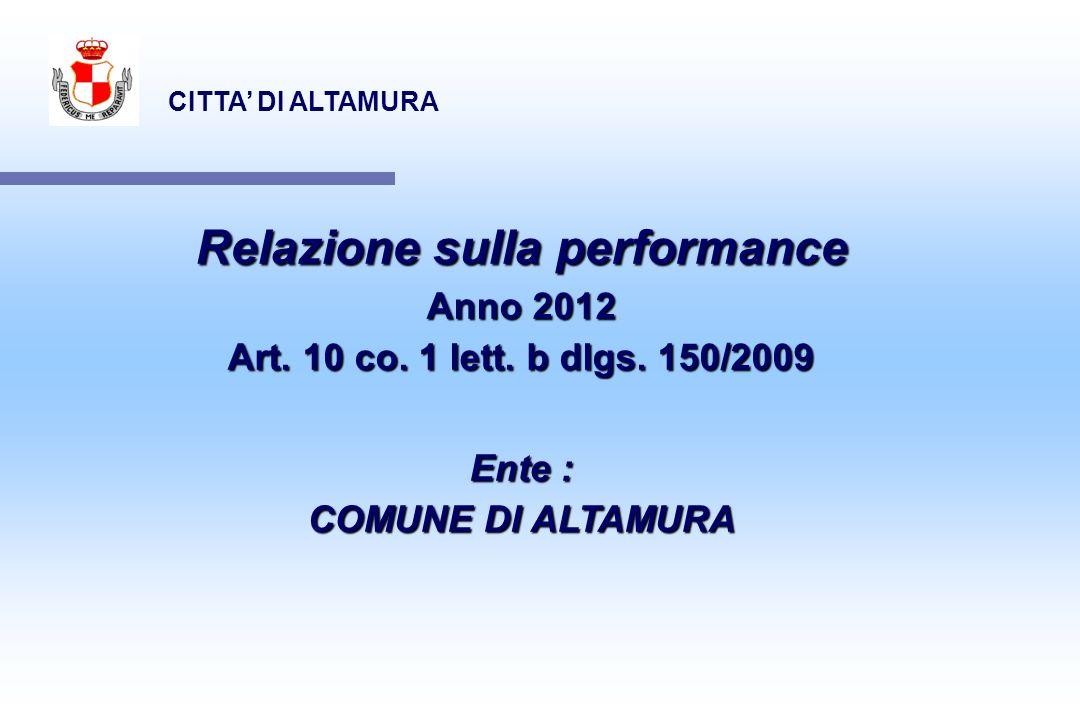 CITTA DI ALTAMURA Relazione sulla performance Anno 2012 Art. 10 co. 1 lett. b dlgs. 150/2009 Ente : COMUNE DI ALTAMURA