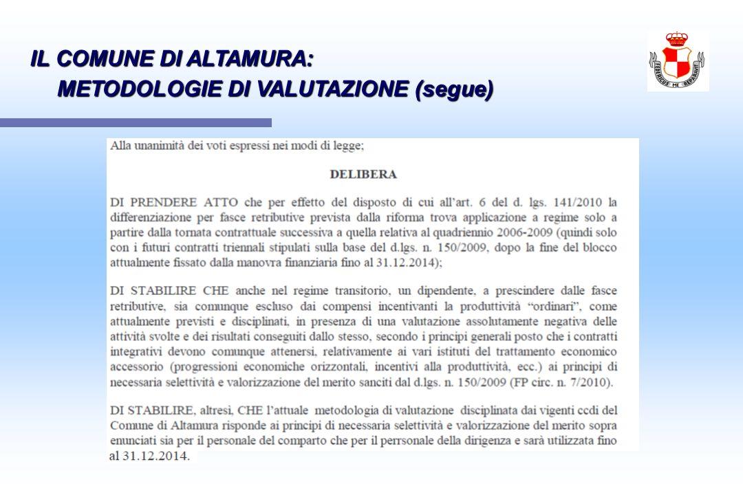 IL COMUNE DI ALTAMURA: METODOLOGIE DI VALUTAZIONE (segue)