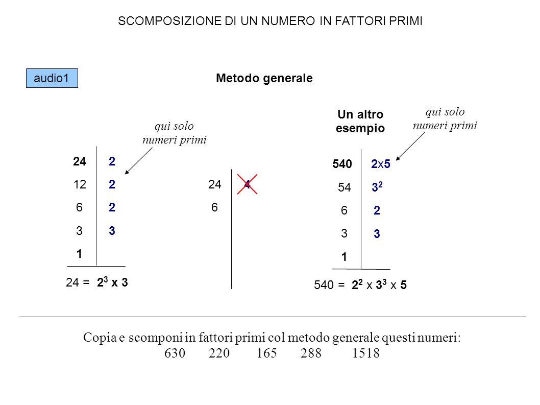 SCOMPOSIZIONE DI UN NUMERO IN FATTORI PRIMI A mente 24 6 x 4 2 x 32 x 2 24 = 2 x 2 x 2 x 3 24 = 2 3 x 3 Copia sul quaderno e memorizza i numeri primi