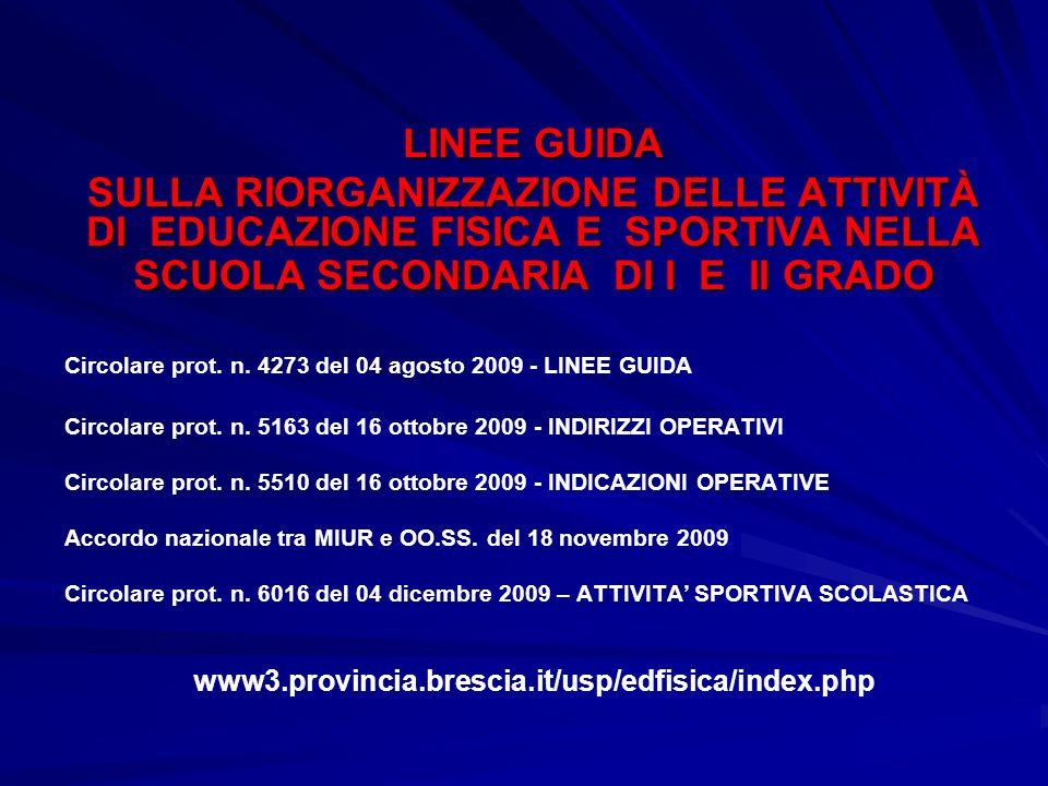 LINEE GUIDA SULLA RIORGANIZZAZIONE DELLE ATTIVITÀ DI EDUCAZIONE FISICA E SPORTIVA NELLA SCUOLA SECONDARIA DI I E II GRADO Circolare prot. n. 4273 del