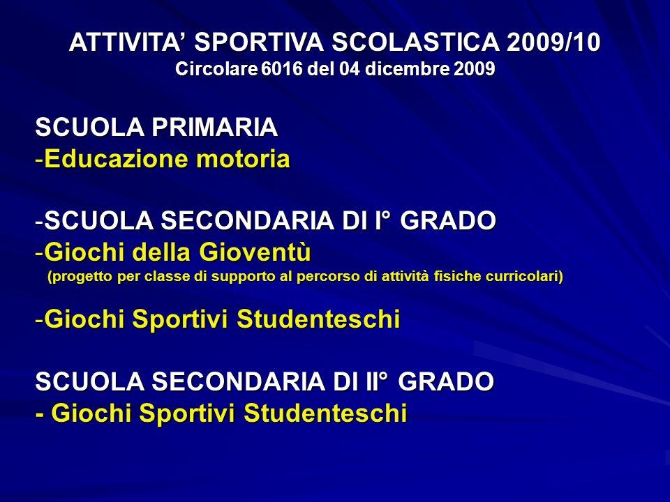 ATTIVITA SPORTIVA SCOLASTICA 2009/10 Circolare 6016 del 04 dicembre 2009 SCUOLA PRIMARIA -Educazione motoria -SCUOLA SECONDARIA DI I° GRADO -Giochi de