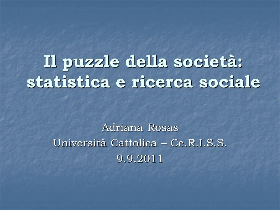 Il puzzle della società: statistica e ricerca sociale Adriana Rosas Università Cattolica – Ce.R.I.S.S.