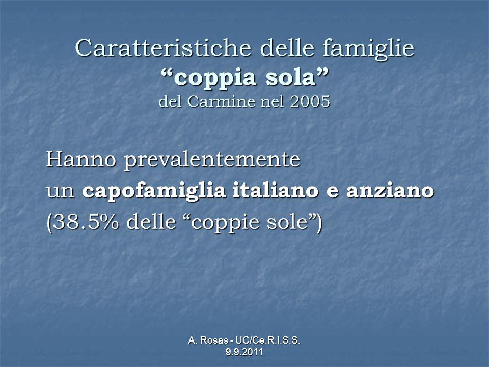 A. Rosas - UC/Ce.R.I.S.S. 9.9.2011 Caratteristiche delle famiglie coppia sola del Carmine nel 2005 Hanno prevalentemente un capofamiglia italiano e an