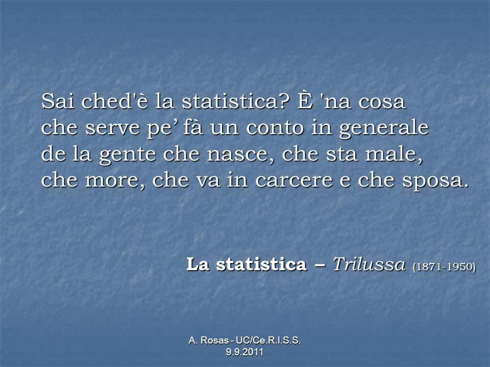 A. Rosas - UC/Ce.R.I.S.S. 9.9.2011 Sai ched'è la statistica? È 'na cosa che serve pe fà un conto in generale de la gente che nasce, che sta male, che