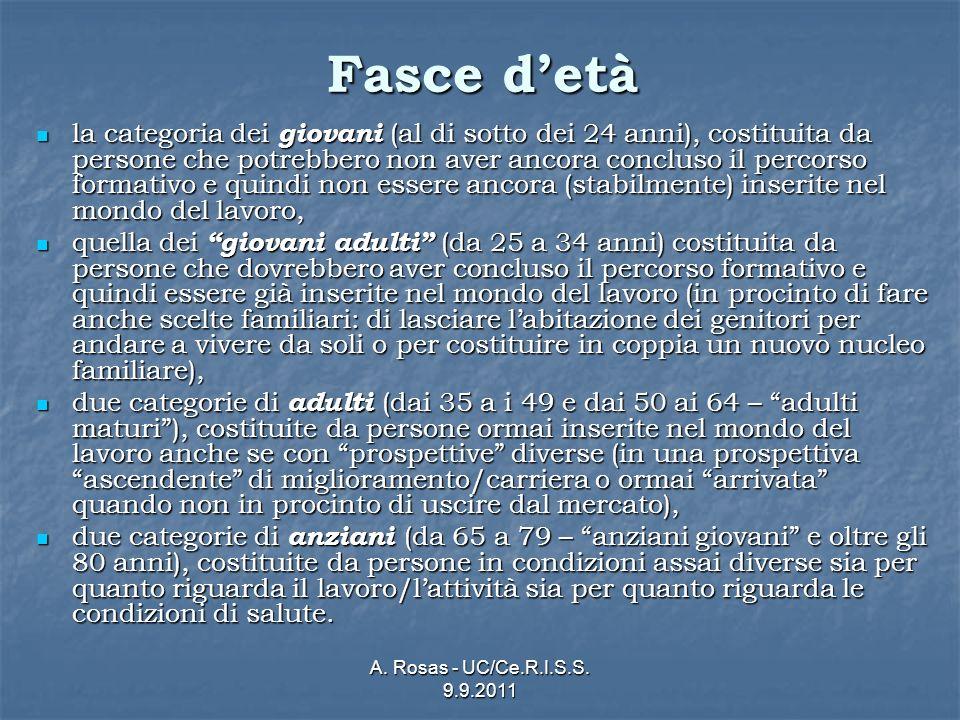 A. Rosas - UC/Ce.R.I.S.S. 9.9.2011 Fasce detà la categoria dei giovani (al di sotto dei 24 anni), costituita da persone che potrebbero non aver ancora