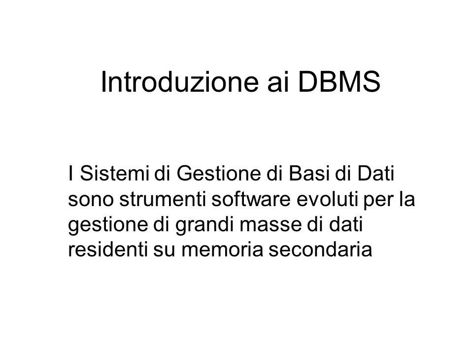 Introduzione ai DBMS I Sistemi di Gestione di Basi di Dati sono strumenti software evoluti per la gestione di grandi masse di dati residenti su memoria secondaria