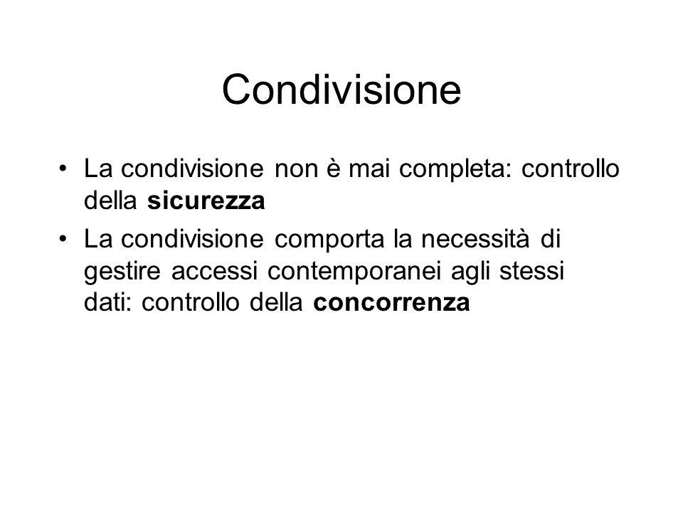 La condivisione non è mai completa: controllo della sicurezza La condivisione comporta la necessità di gestire accessi contemporanei agli stessi dati: controllo della concorrenza Condivisione