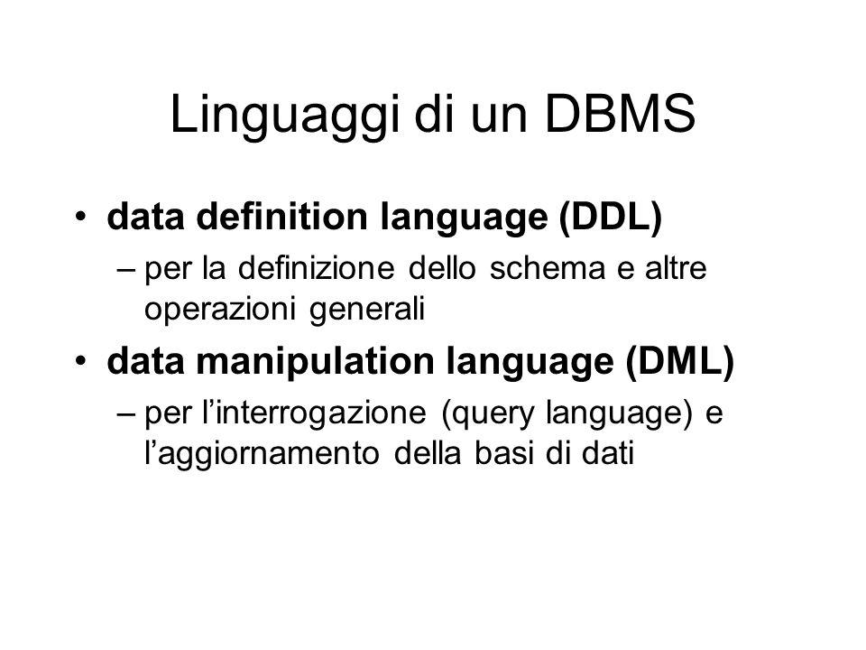 Linguaggi di un DBMS data definition language (DDL) –per la definizione dello schema e altre operazioni generali data manipulation language (DML) –per linterrogazione (query language) e laggiornamento della basi di dati