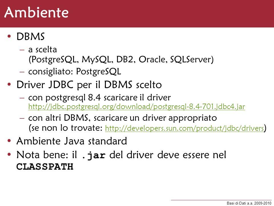 Basi di Dati a.a. 2009-2010 Ambiente DBMS –a scelta (PostgreSQL, MySQL, DB2, Oracle, SQLServer) –consigliato: PostgreSQL Driver JDBC per il DBMS scelt