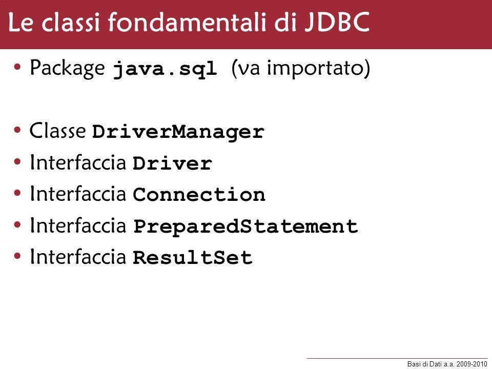Basi di Dati a.a. 2009-2010 Le classi fondamentali di JDBC Package java.sql (va importato) Classe DriverManager Interfaccia Driver Interfaccia Connect