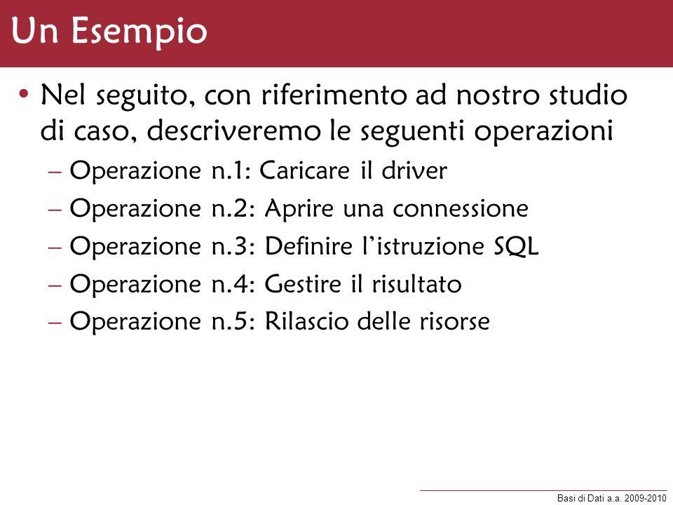 Basi di Dati a.a. 2009-2010 Un Esempio Nel seguito, con riferimento ad nostro studio di caso, descriveremo le seguenti operazioni –Operazione n.1: Car