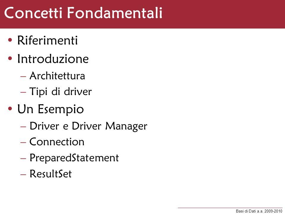 Basi di Dati a.a. 2009-2010 Concetti Fondamentali Riferimenti Introduzione –Architettura –Tipi di driver Un Esempio –Driver e Driver Manager –Connecti