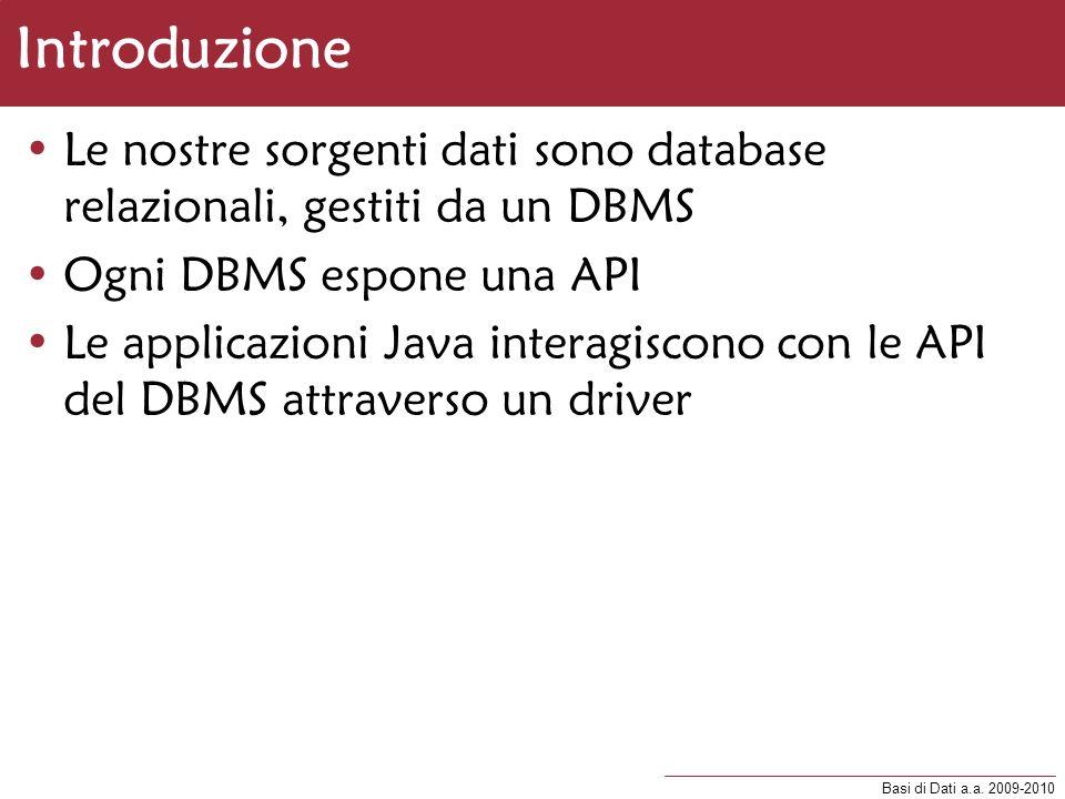 Basi di Dati a.a. 2009-2010 Introduzione Le nostre sorgenti dati sono database relazionali, gestiti da un DBMS Ogni DBMS espone una API Le applicazion